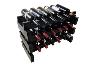 18 bottle modular stackable wine rack dark