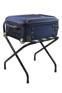 Black Folding Luggage Rack / Suitcase Stand with back - OZ Best Choice Products