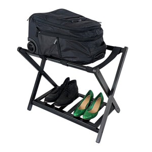 wooden suitcase stand luggage rack with bags and shoes