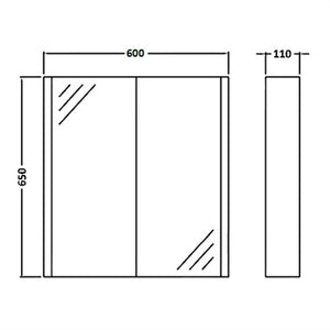 2 Door Wall Hung Minimalist Bathroom Cabinet - OZ Best Choice Products