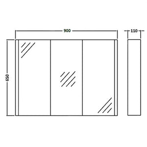 3 Door Wall Hung Minimalist Bathroom Cabinet - OZ Best Choice Products