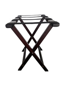 Bamboo Suitcase Stand Luggage Rack mahogany side view