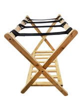 Bamboo Luggage Rack Suitcase Stand with shelf side view