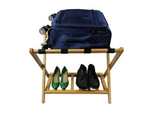 Bamboo Luggage Rack Suitcase Stand with shelf