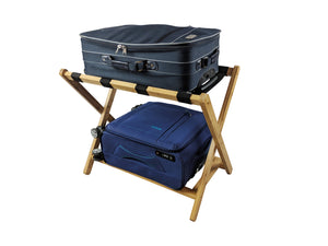Bamboo Luggage Rack Suitcase Stand with shelf bags