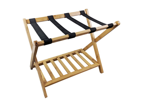 Bamboo Luggage Rack Suitcase Stand with shelf profile