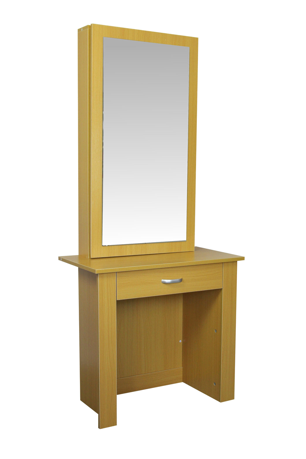 Beech Standing Dressing Table Jewellery Cabinet With Sliding Mirror