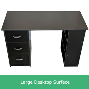 Black Computer Desk with Drawers and Shelf