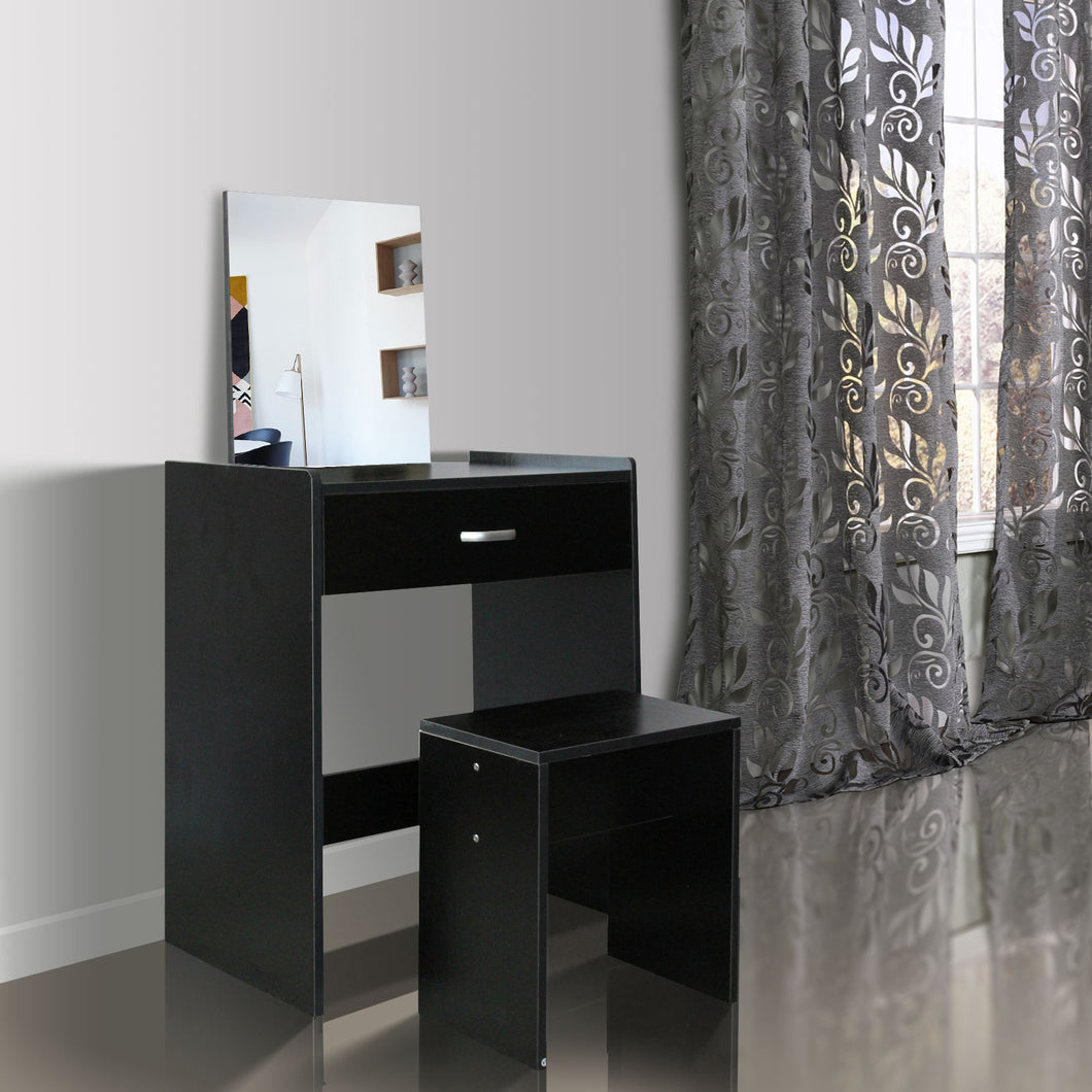 Black Modern Dressing Table with Mirror and Stool Dresser Makeup Cabinet