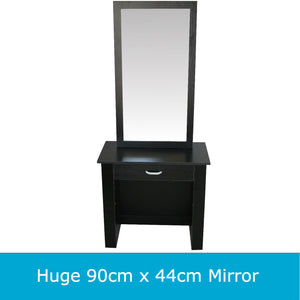 Black Dressing Table Makeup Cabinet Jewellery Organiser with Sliding Mirror