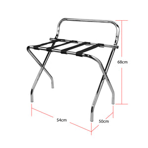 Chrome Folding Luggage Rack / Suitcase Stand with back