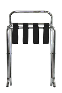 chrome folding luggage rack suitcase stand with back folded up front view