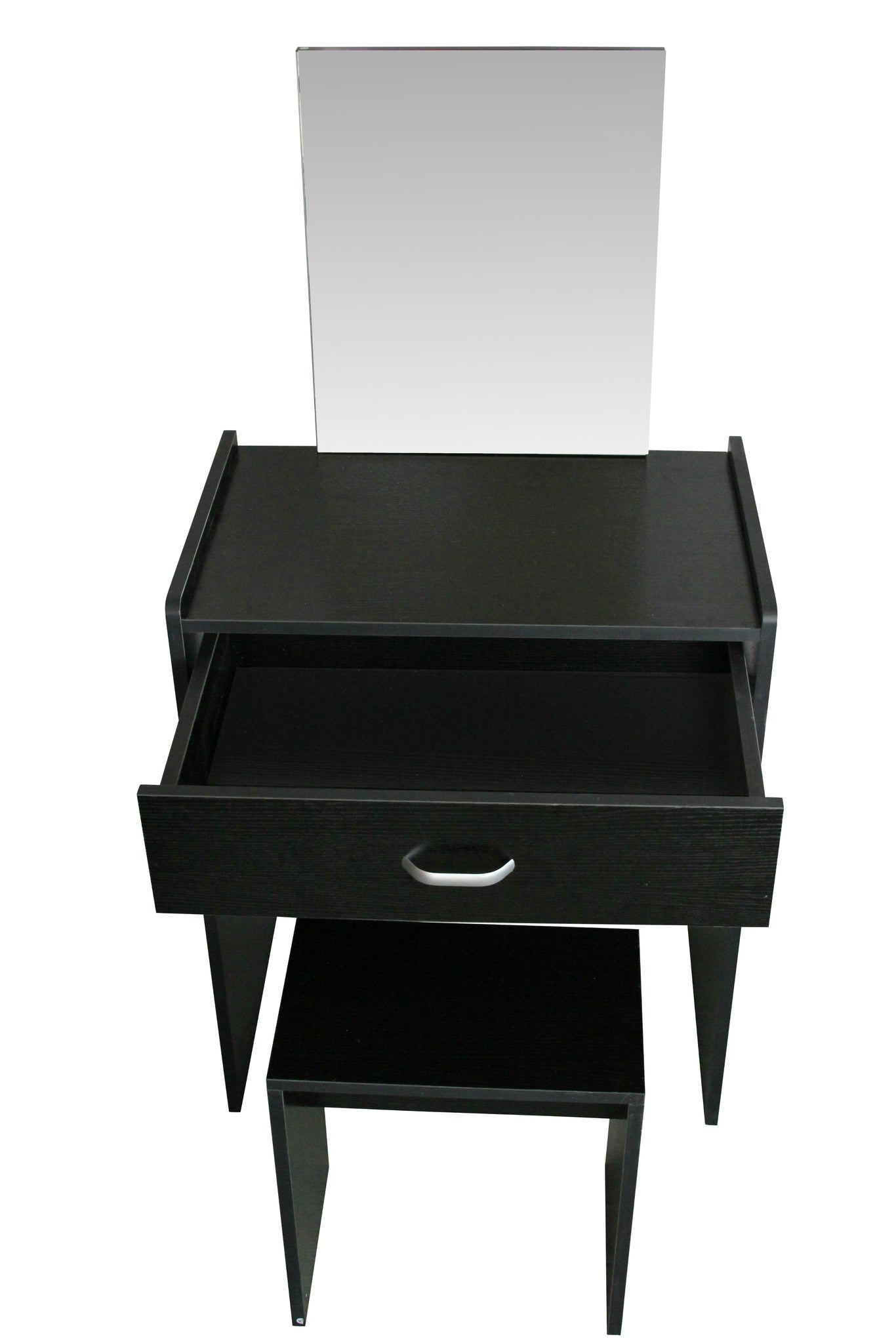 Mirrored Vanity Table And Stool: Black Modern Dressing Table With Mirror And Stool