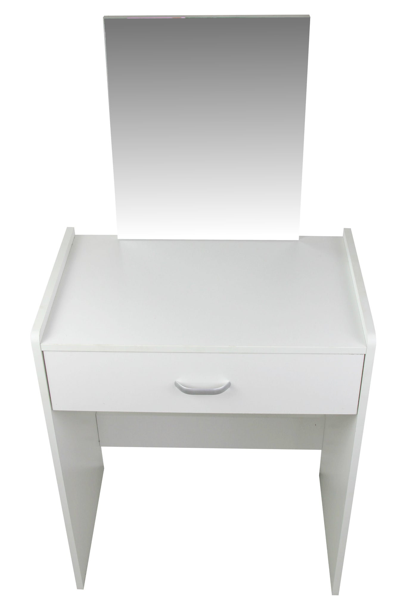 Dressing Table With Mirror And Stool: White Modern Dressing Table With Mirror And Stool