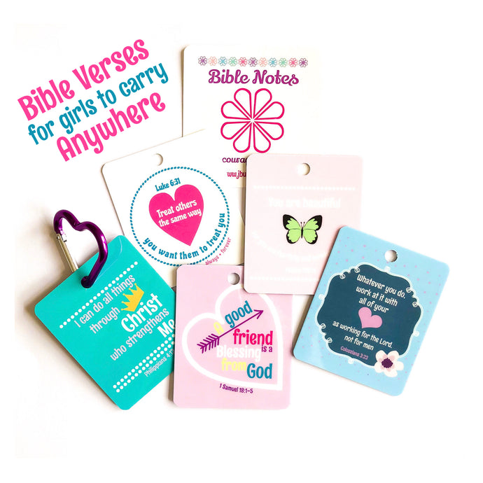 Bible Notes- (5 Encouraging Verses + 1 Heart Keychain)