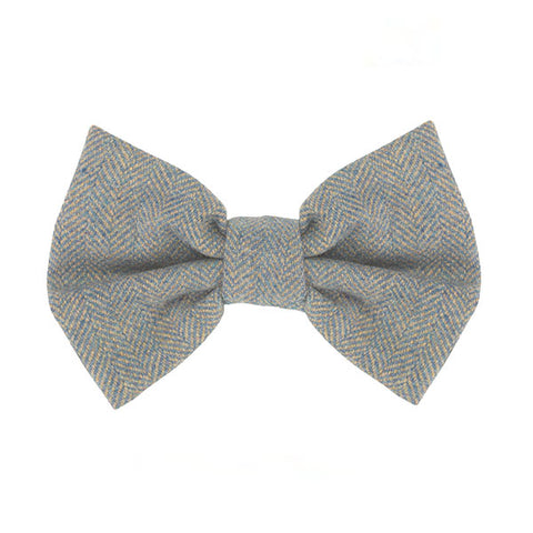A chic, blue dog bow tie made from the finest herringbone Tweed
