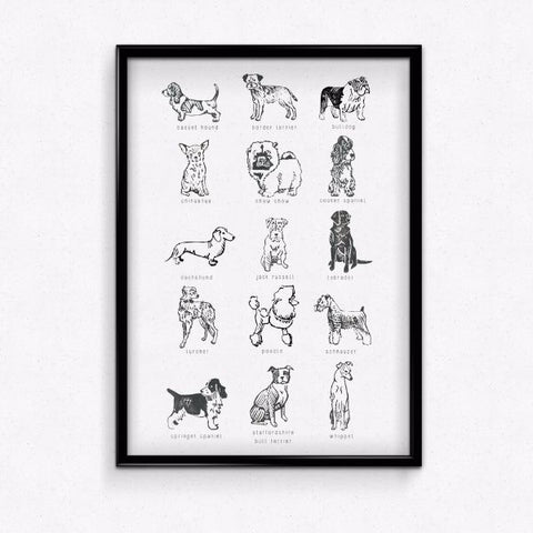 Pretty up your wall with this dog breed print, just add a frame!