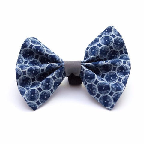 Dog bow tie in funky navy circles print!