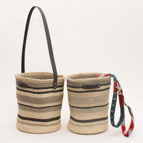 Hand Woven Basket - Medium Multi Stripe