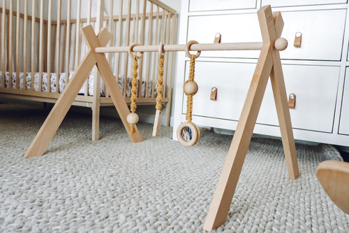 Deluxe Raw Beechwood Macrame Play Gym Package - SINGLE FRAME & MACRAME TOYS