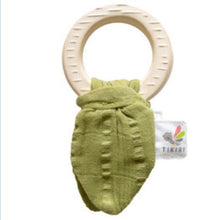 Natural Rubber Teether with Sage Muslin Tie