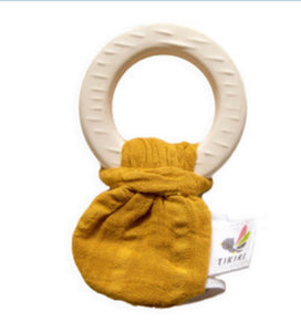 Natural Rubber Teether with Mustard Muslin Tie