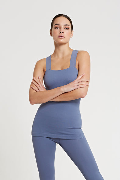 Fitted top with built-in bra - Steel Blue
