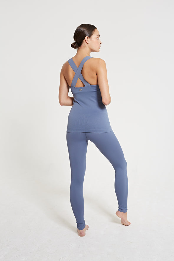 LUNA Rib Legging - Steel Blue