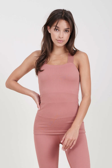 Fitted top with built-in bra - Clay Pink