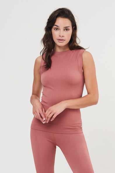 Rib sleeveless top - Clay Pink