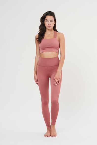 High-waisted rib legging - Clay Pink