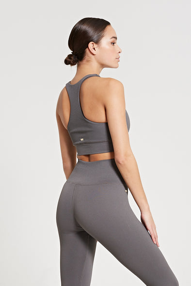 Ribbed sports bra - Dark Grey