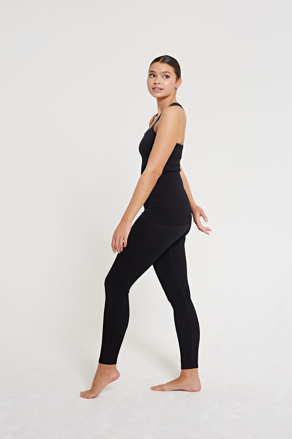 High-waisted rib legging - Black
