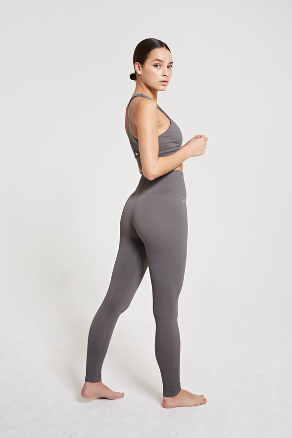 High-waisted rib legging - Dark Grey