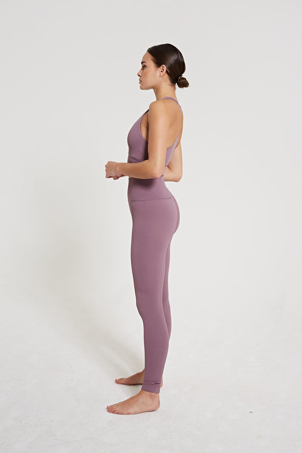 High-waisted rib legging - Lilac