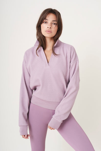 Comfortable v-neck sweater - Lilac