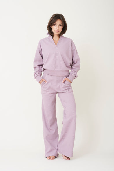 High-waisted flared pants - Lilac