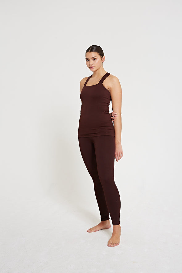 High-waisted rib legging - Fig