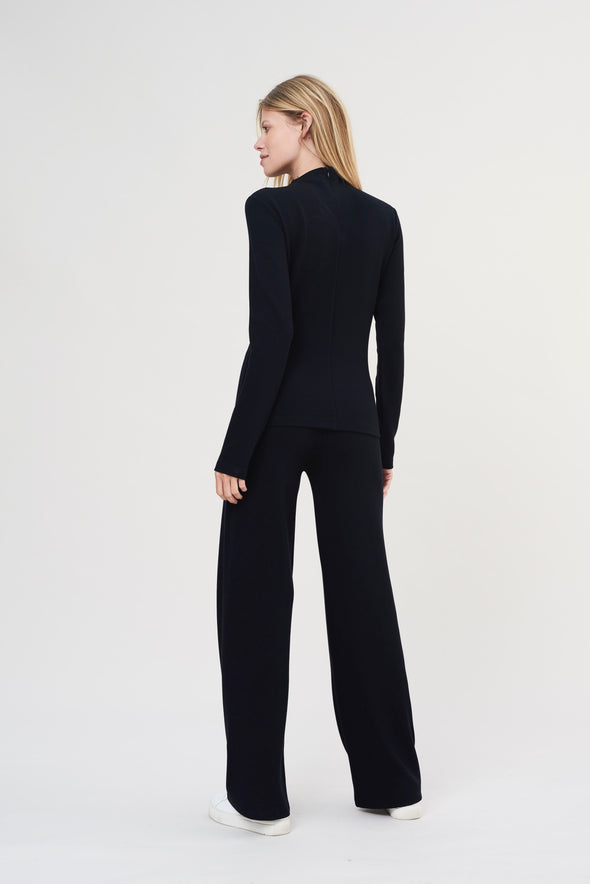 Soft structured long-sleeve top - Midnight