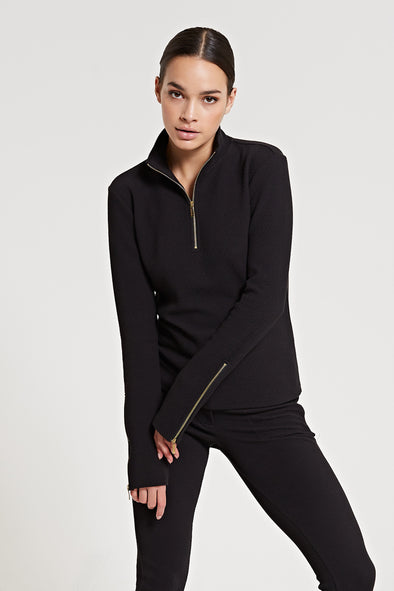 Structured long-sleeve top - Black