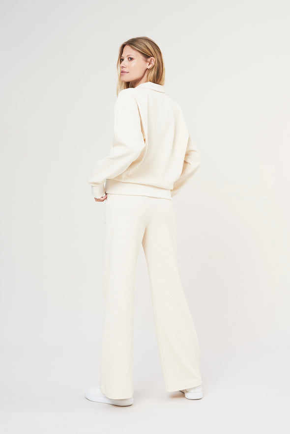 High-waisted flared pants - Pearl