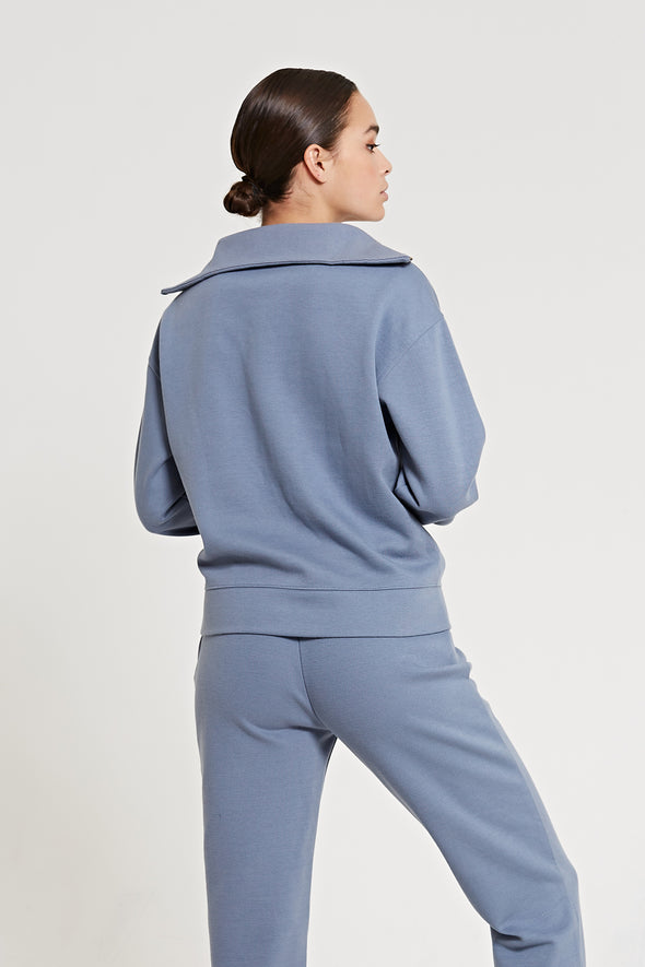 Half-zip sweater - Steel Blue