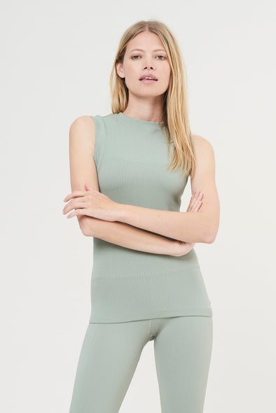 Rib sleeveless top - Sage Green