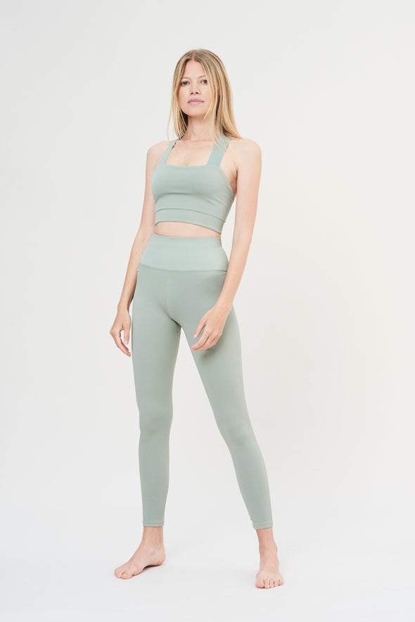 High-waisted rib legging - Sage Green