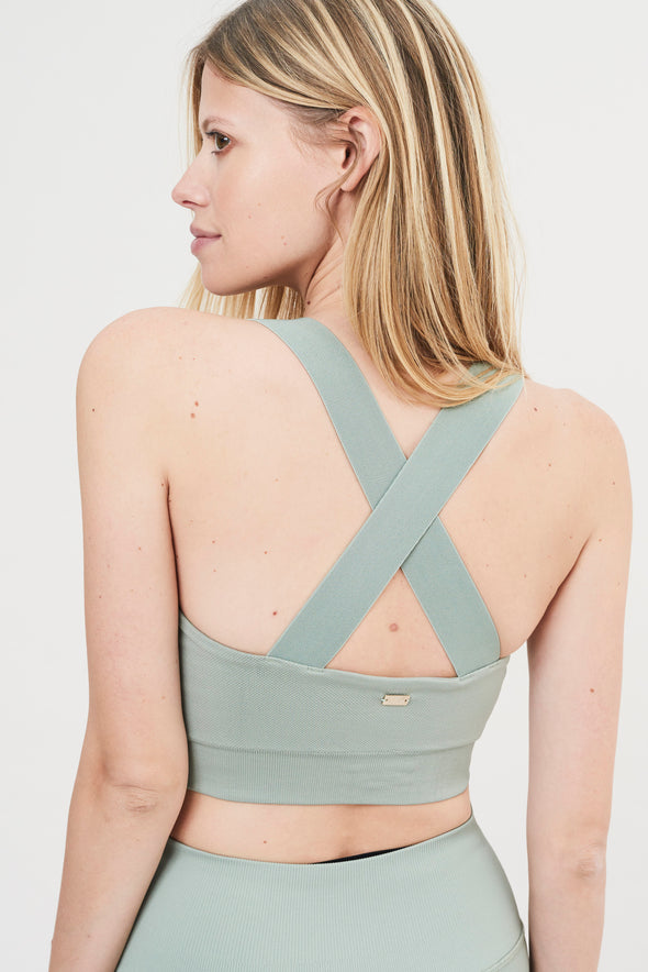 Fitted bandeau bra - Sage Green
