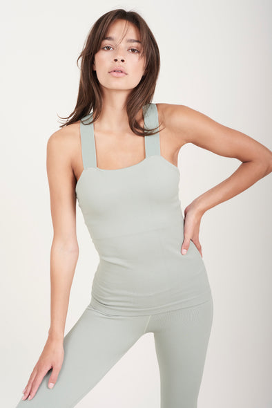 Fitted top with built-in bra - Sage Green