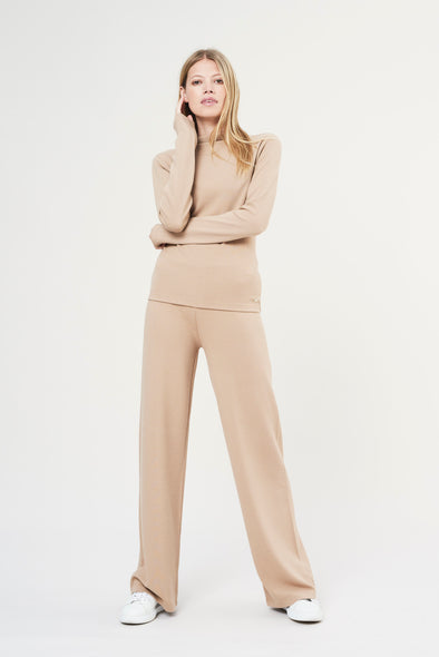 Soft structured flared pants - Sand