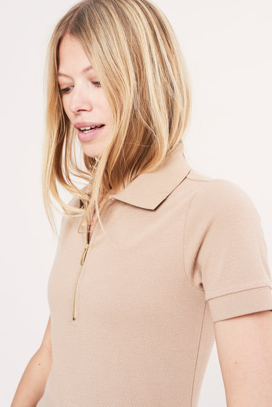 Soft structured zipped polo - Sand