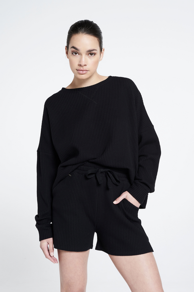 Relaxed fit structured sweater - Black