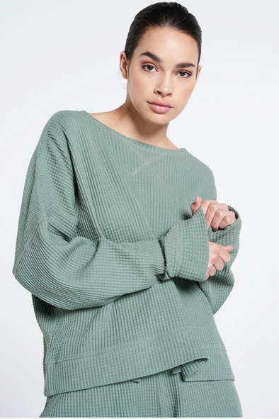 Relaxed fit structured sweater - Silvered Olive